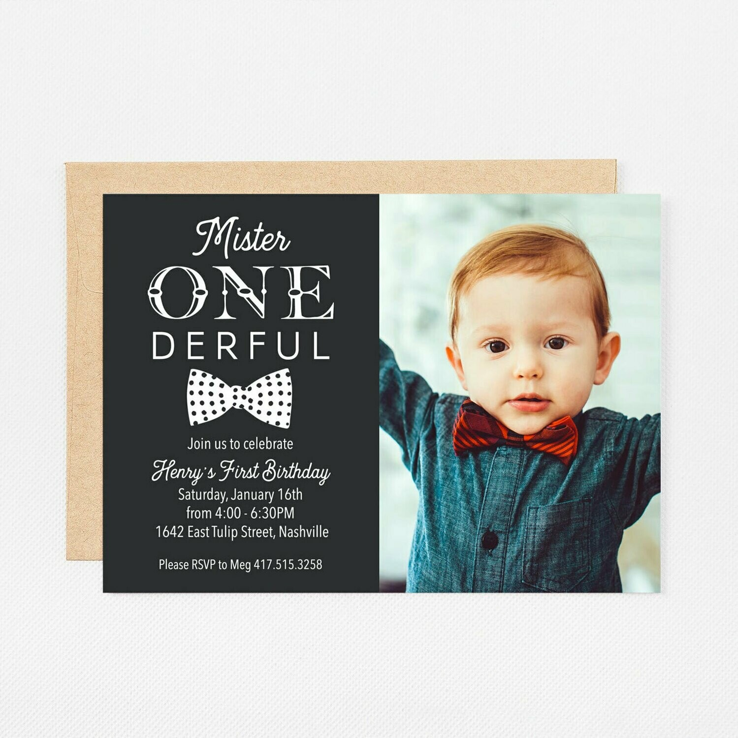 First Birthday Mr. ONEderful Photo Invitation - Digital or Printed