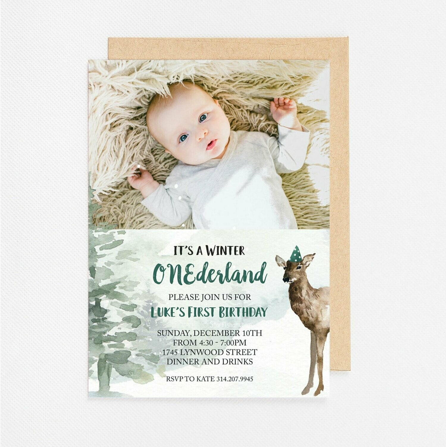 First Birthday Winter ONEderful Green Photo Invitation - Digital or Printed