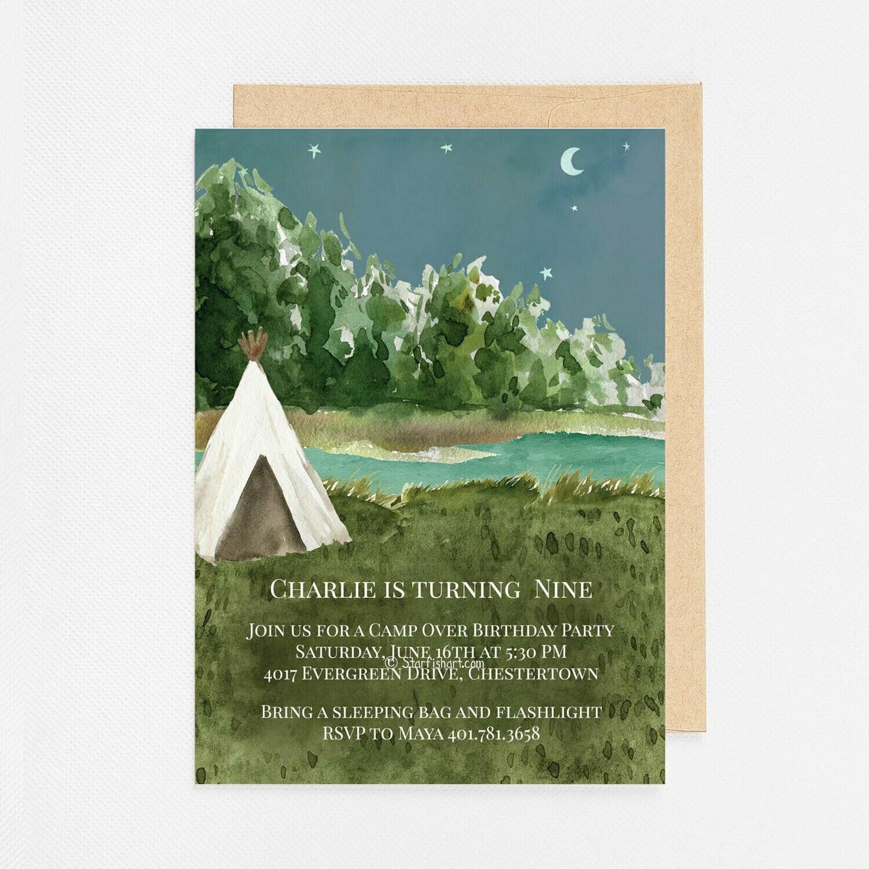 Camping Tent Sleepover Invitation - Digital or Printed