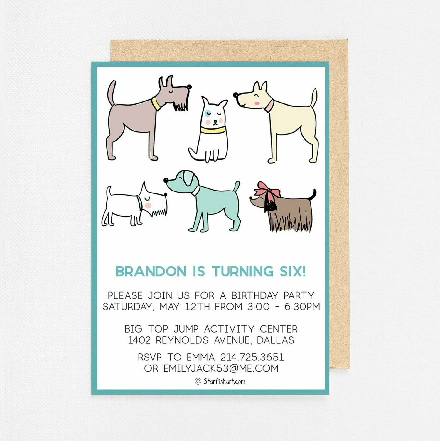 Puppy Dogs blue Invitation - Digital or Printed