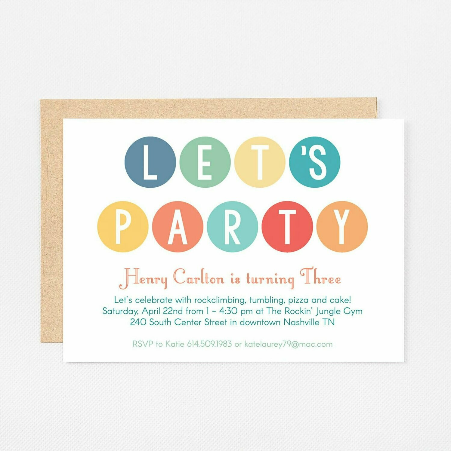 Let's Party Dots Blue Invitation - Digital or Printed