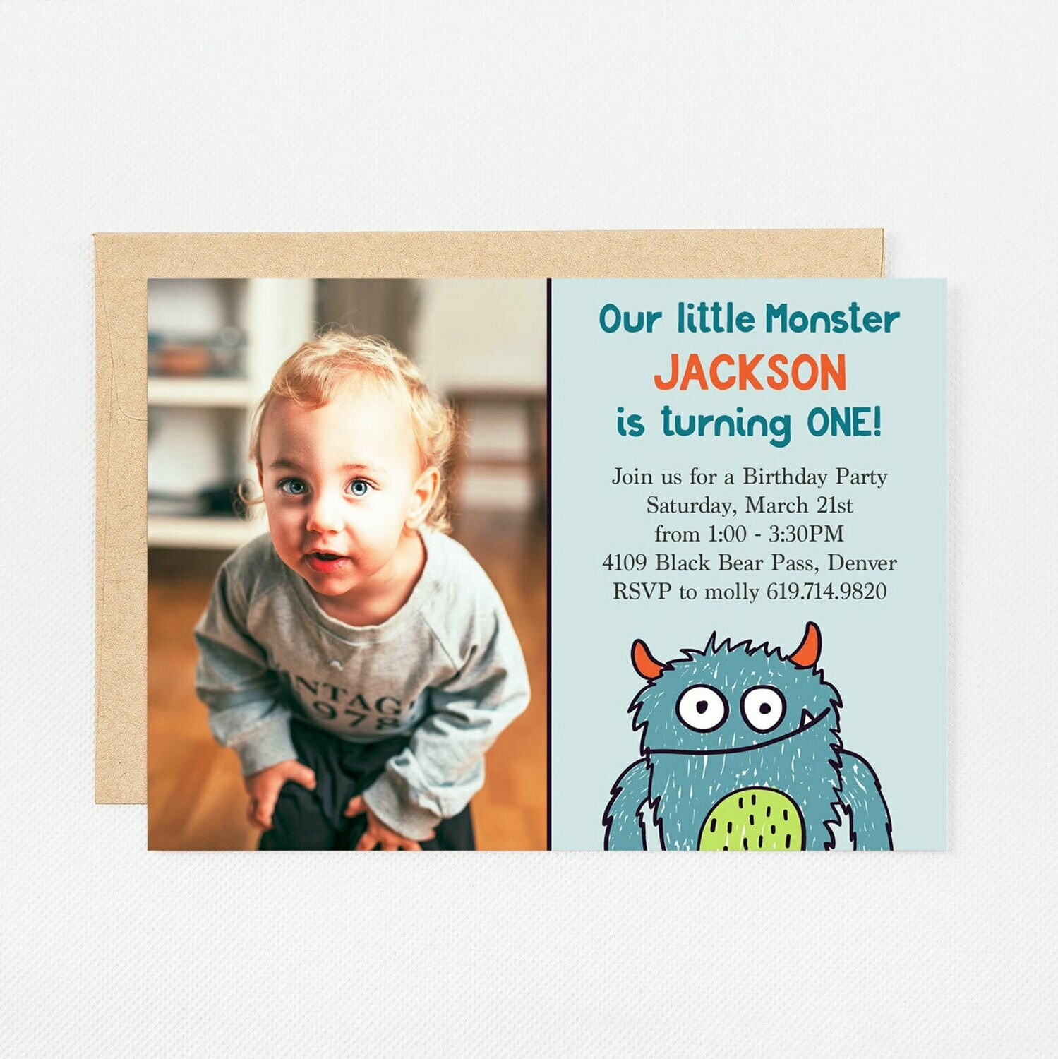 Little Monster Photo Invitation - Digital or Printed