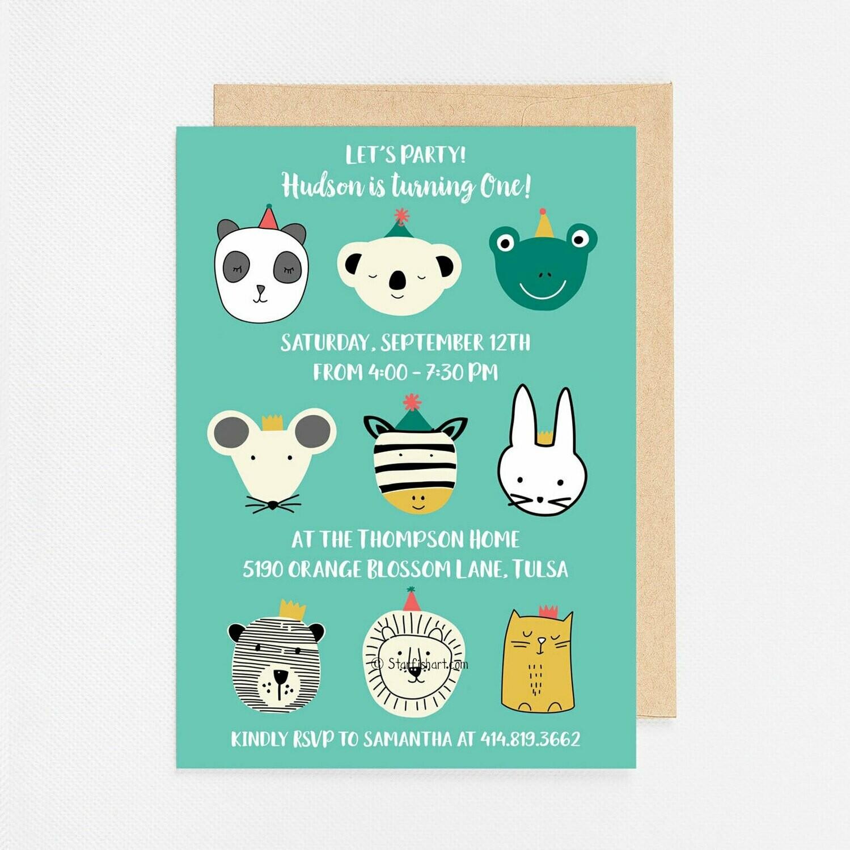 Blue Party Animal Invitation - Digital or Printed