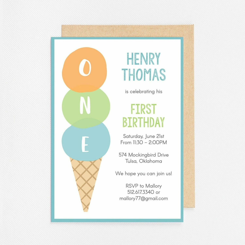 Ice Cream ONE blue Invitation - Digital or Printed