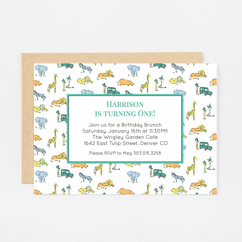 Green Safari Zoo Animals Invitation - Digital or Printed