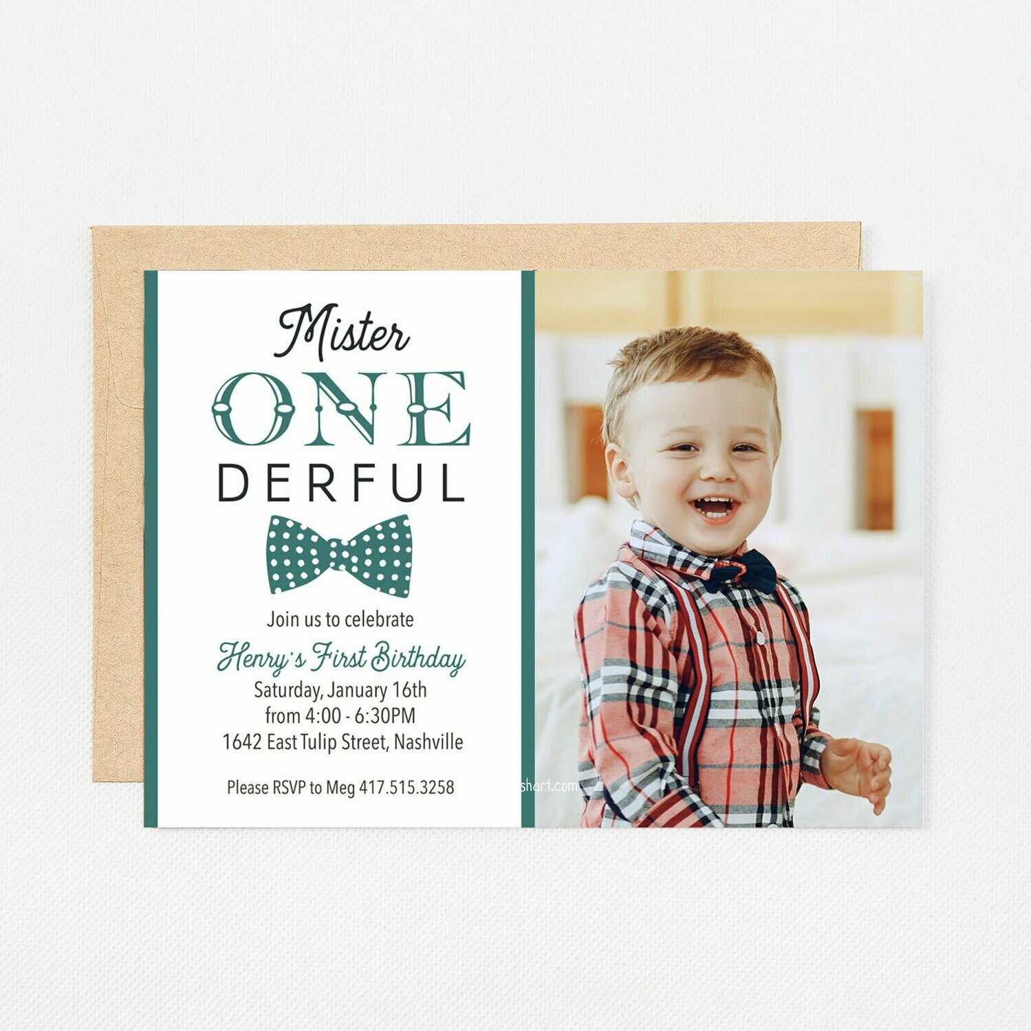 Green Mister ONEderful Photo Invitation - Digital or Printed