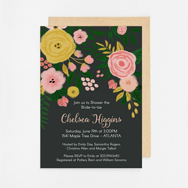 Modern Charcoal Floral Invitation - Digital or Printed