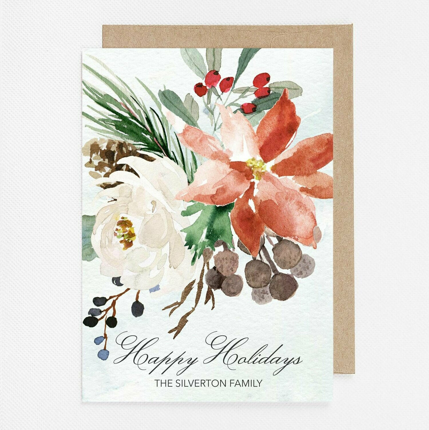 Winter Watercolor Christmas Card with inside text
