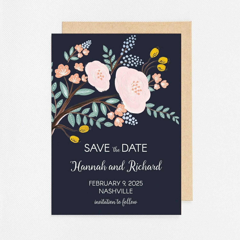 Navy Floral Branch Invitation - Digital or Printed