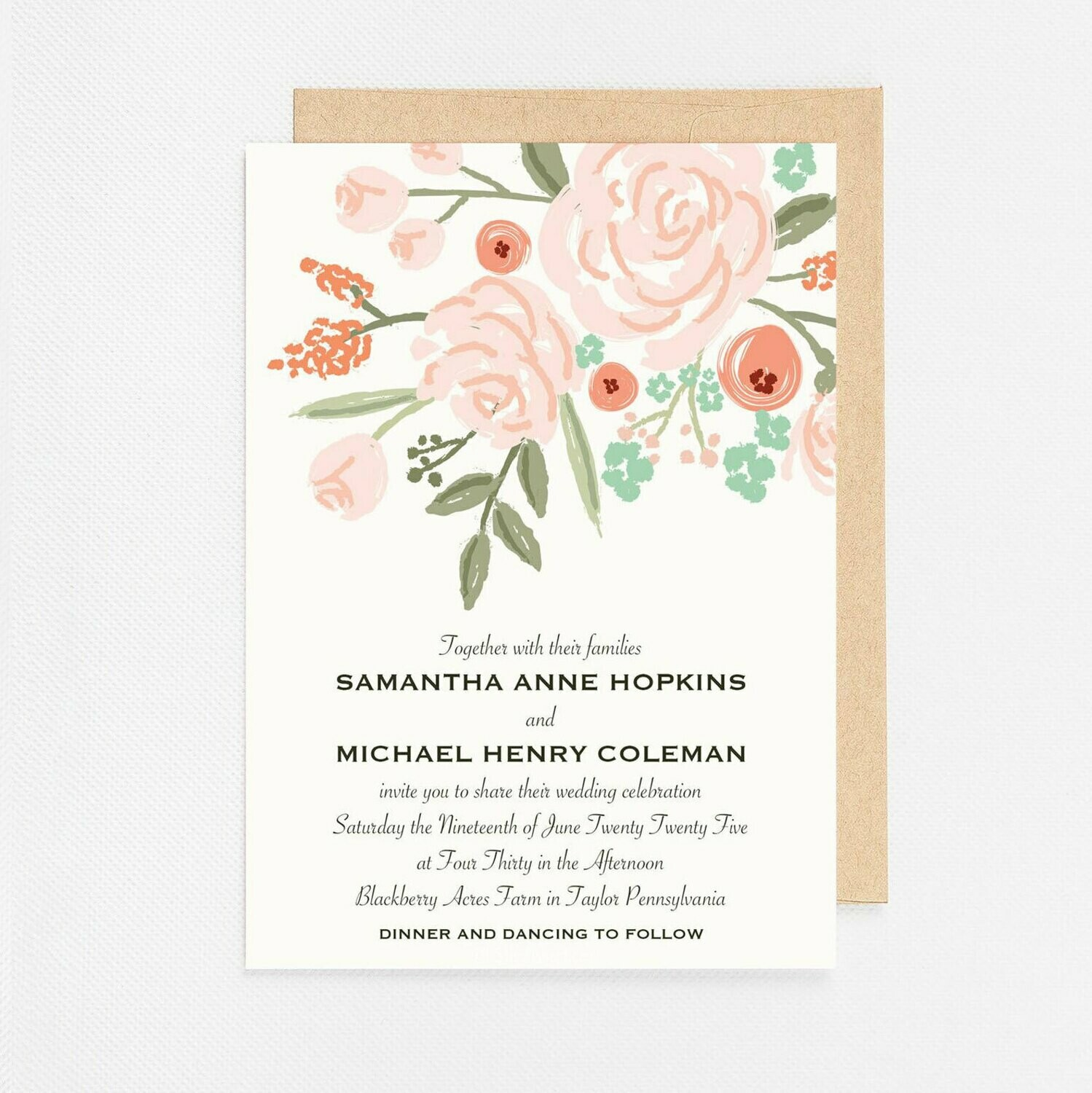 Peach Floral Bunch Invitation - Digital or Printed