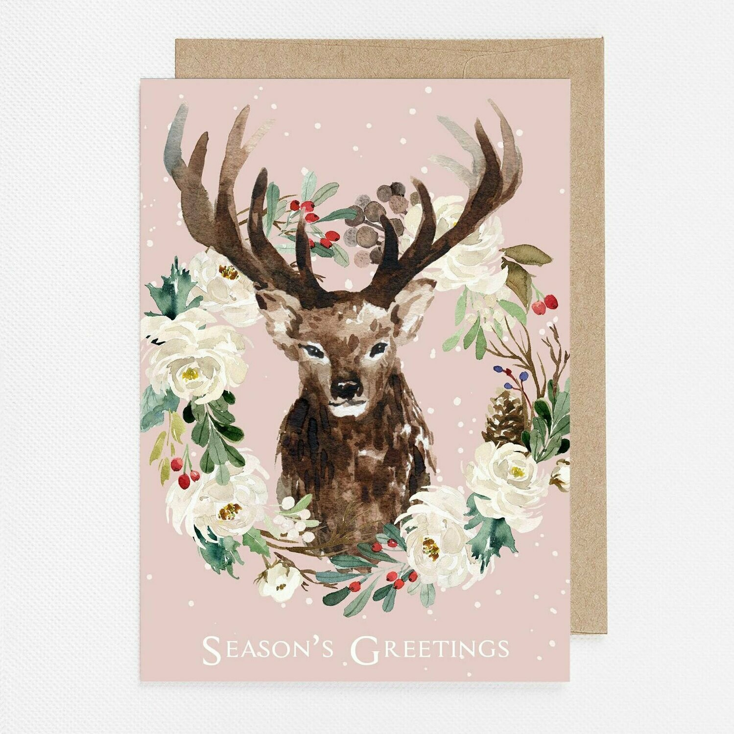 Pink Winter Deer Watercolor Christmas Card with inside text