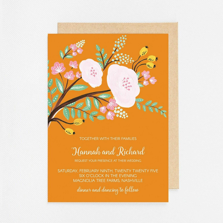 Tangerine Floral Branch Invitation - Digital or Printed