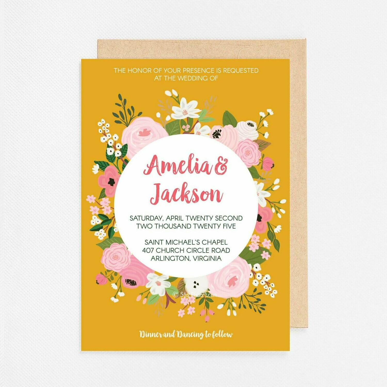 Gold Floral Circle Invitation - Digital or Printed