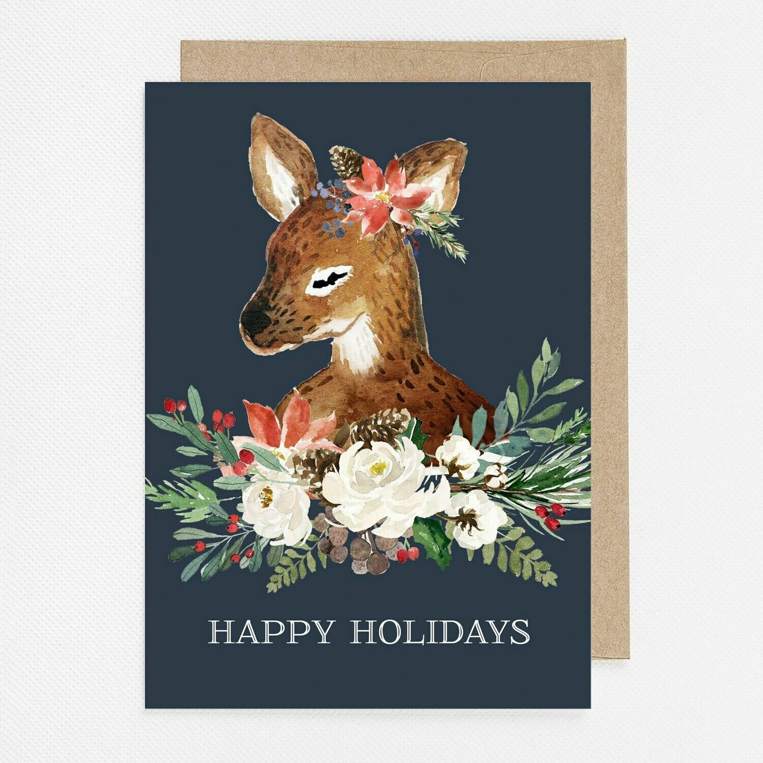 Sweet Winter Deer Watercolor Christmas Card with inside text