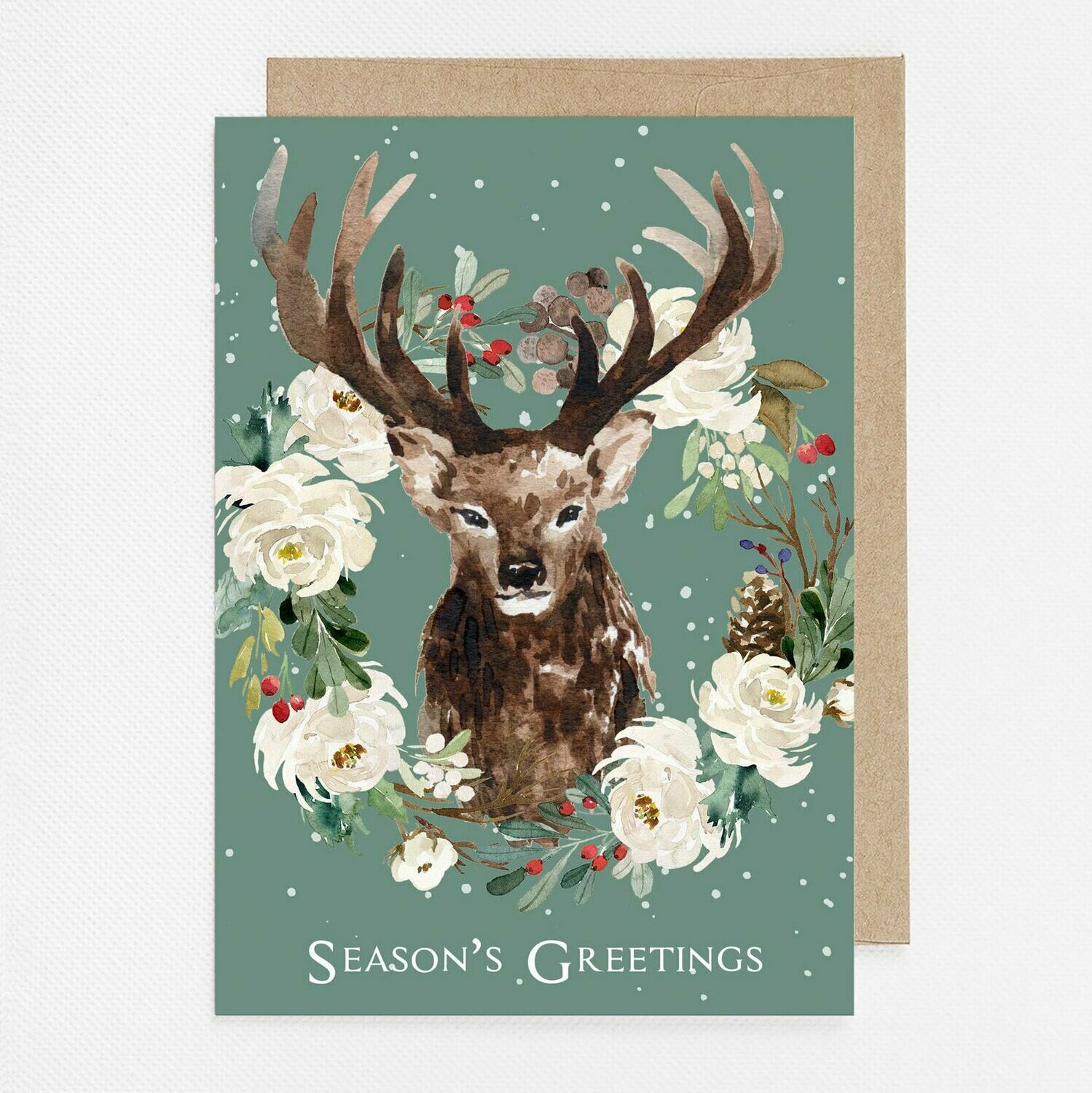 Green Winter Deer Watercolor Christmas Card with inside text