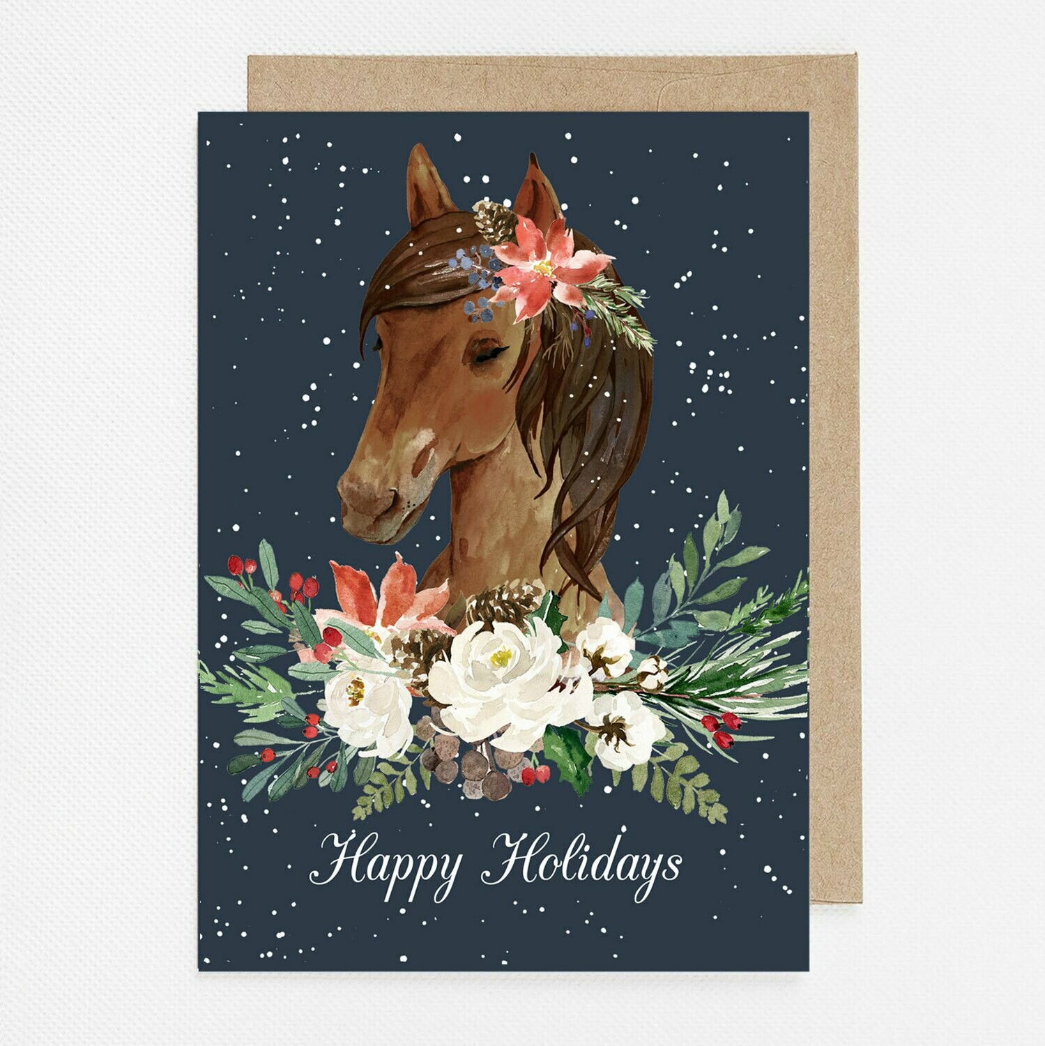Sweet Winter Horse Watercolor Christmas Card with inside text
