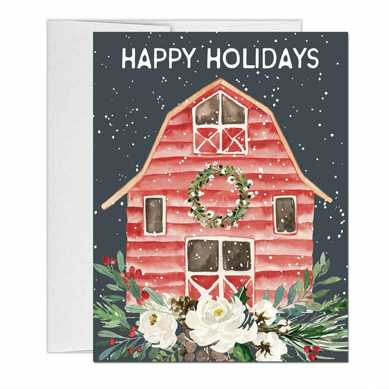 Farm Winter Barn Christmas Card with inside text