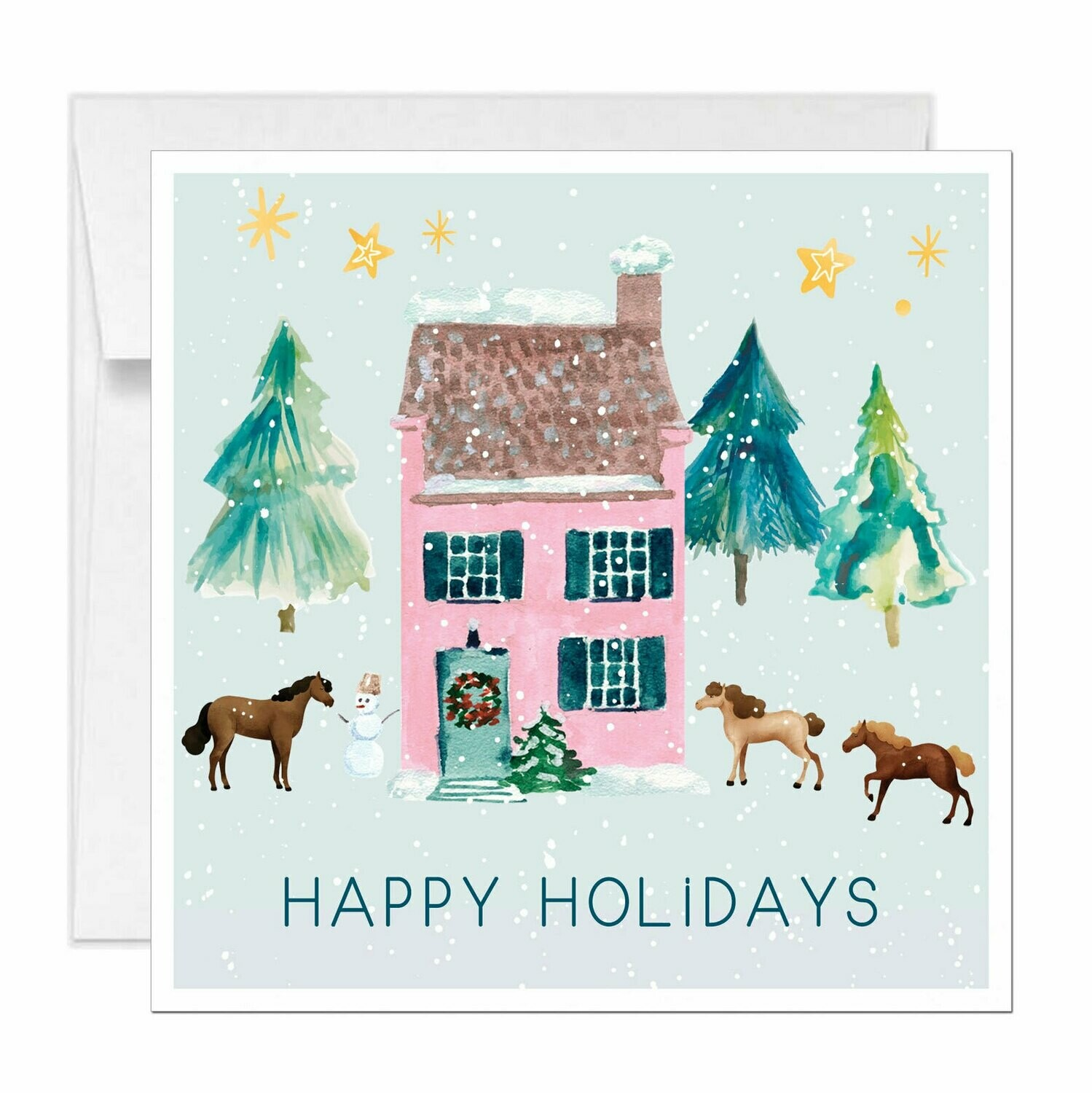 Square Pink Farmhouse Holiday Card
