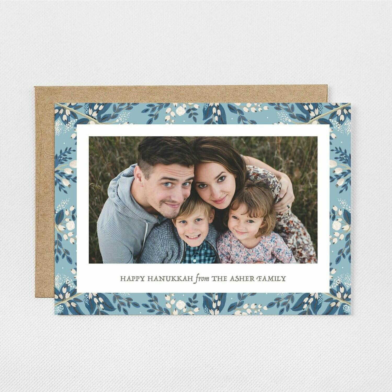 Blue Floral Photo Card Hanukkah