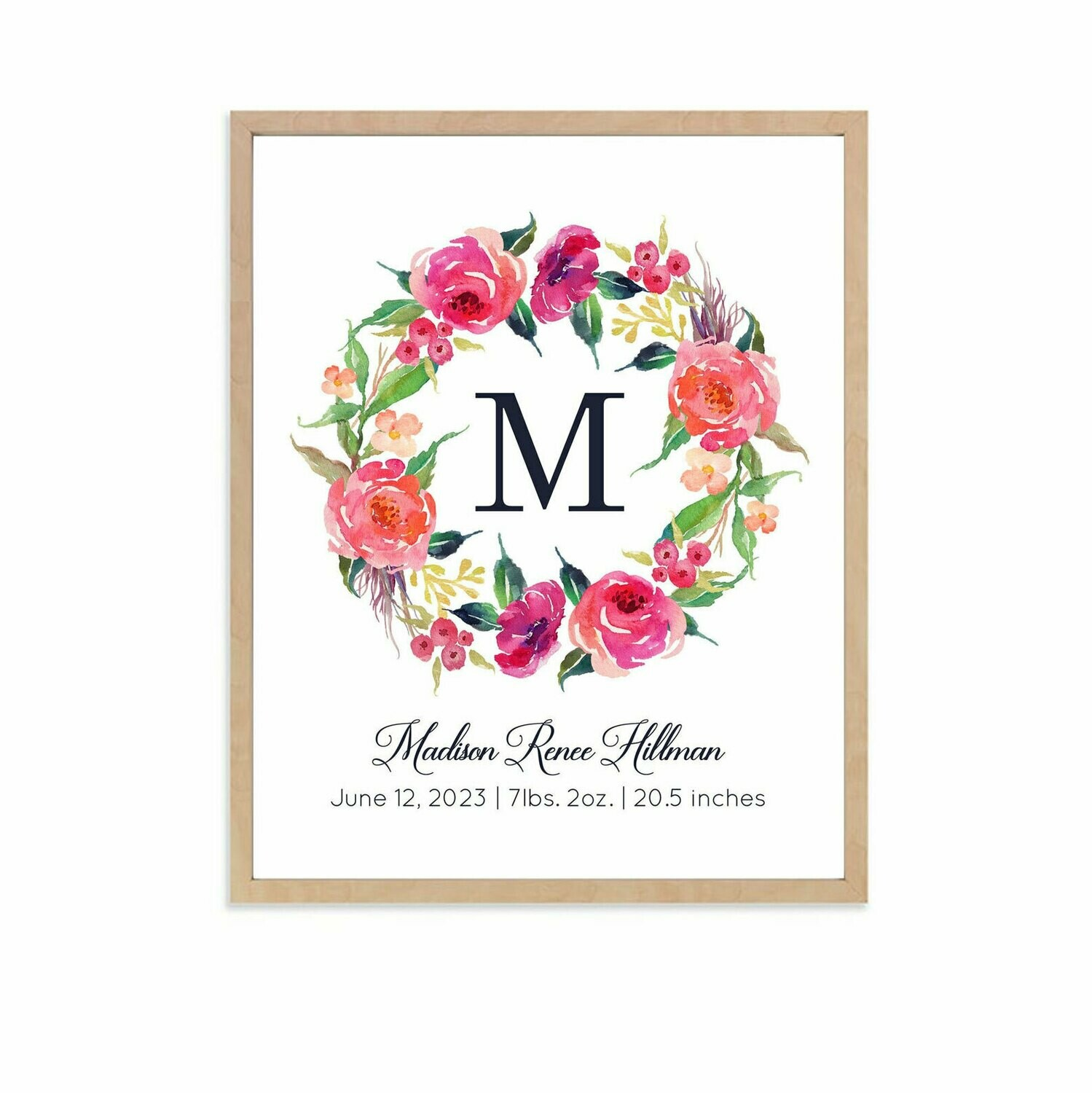 Personalized Bright Floral Wreath Art Print