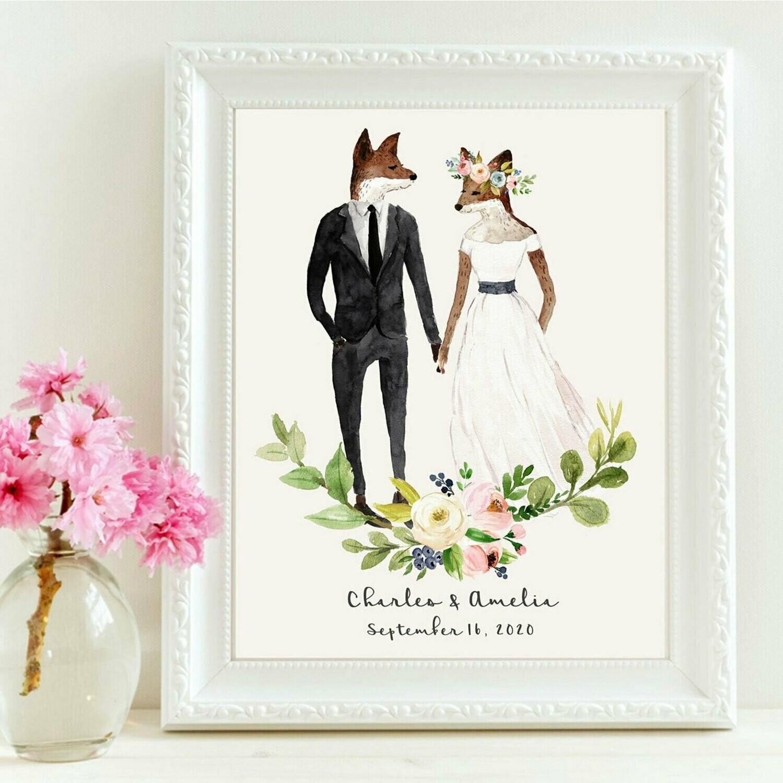 Wedding Fox Couple Personalized Art Print