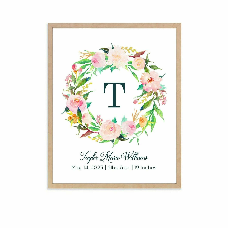 Personalized Pastel Floral Wreath Art Print