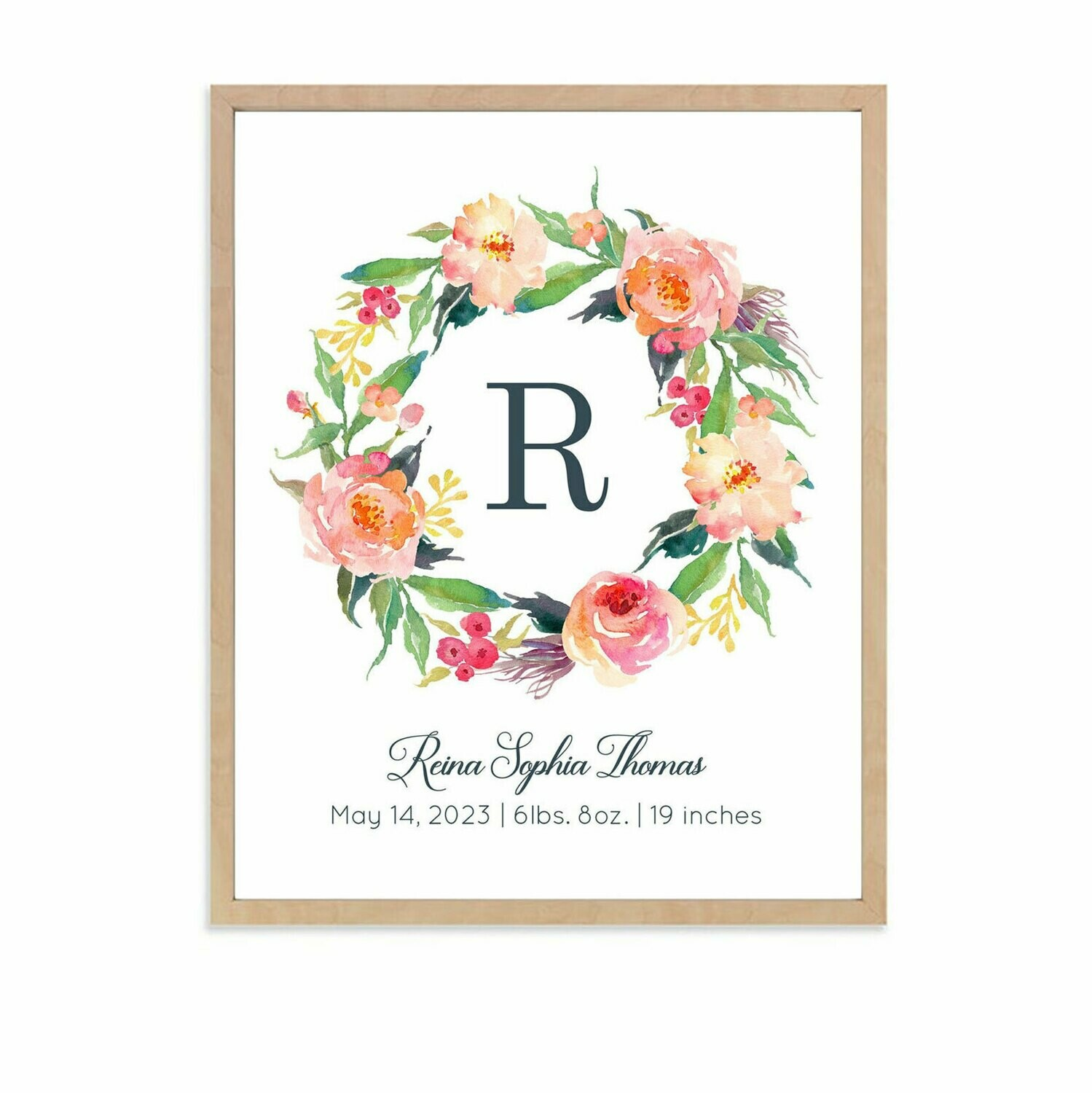 Personalized Floral Wreath Art Print