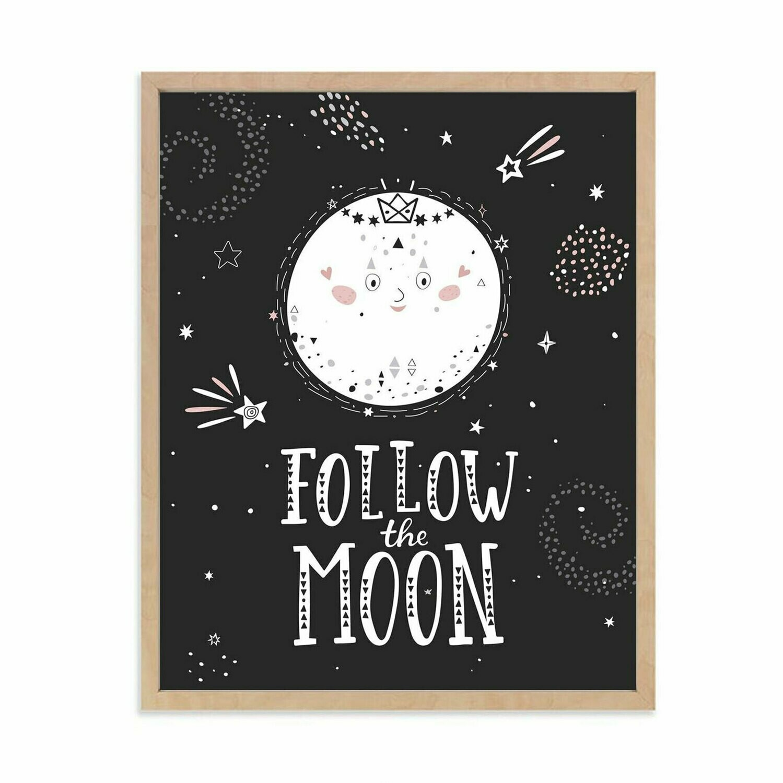 Follow the Moon Wall Art DIGITAL DOWNLOAD PRINT