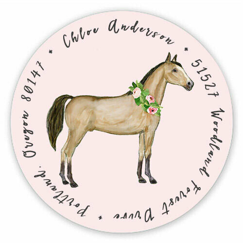 Watercolor Horse Round Address Label