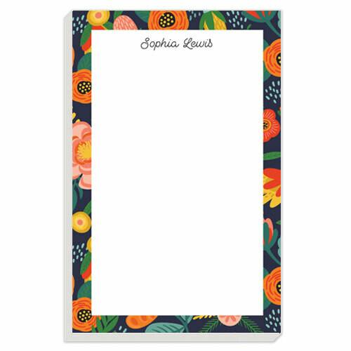 Navy Floral Border Notepad