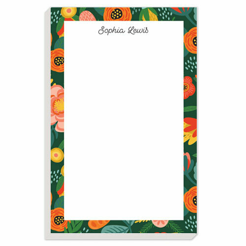 Green Floral Border Notepad