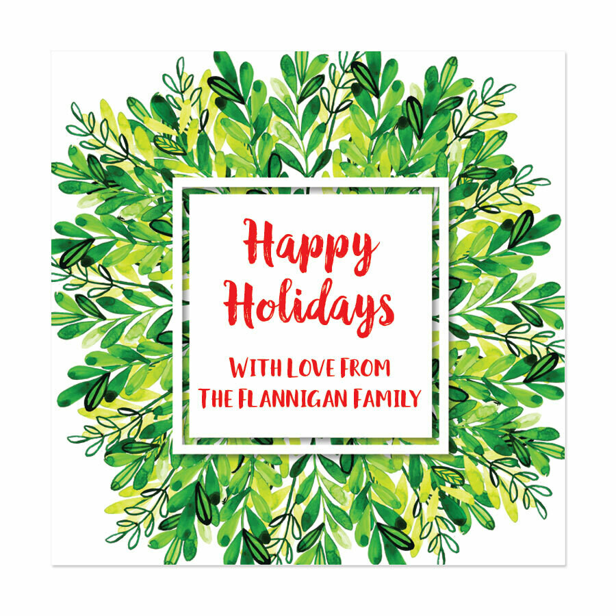 Winter Greens Square Gift Stickers