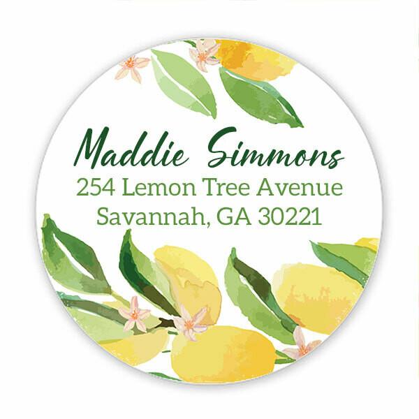 Lemon Address Circle Stickers