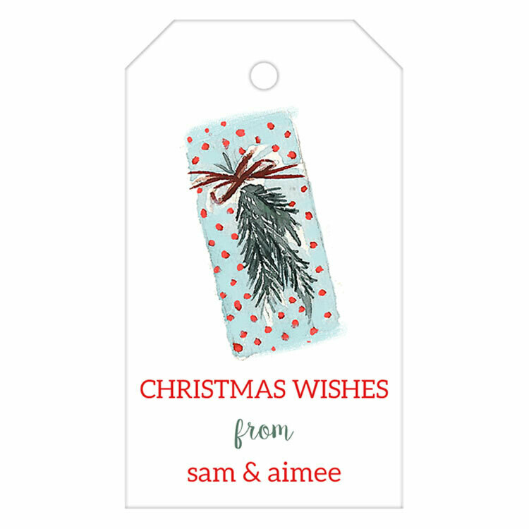 Blue Present Watercolor Gift Tag