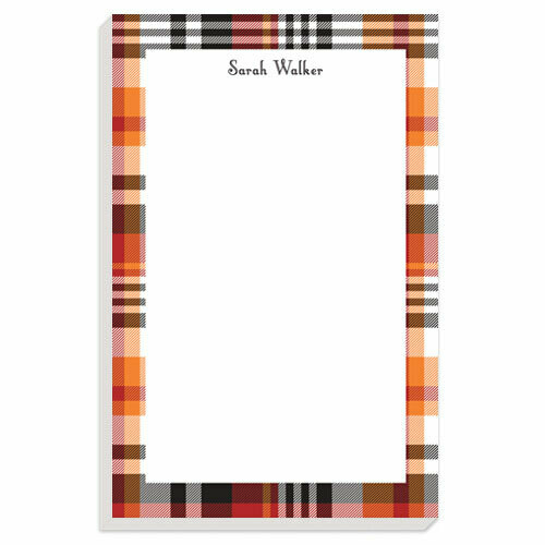Orange Plaid Notepad