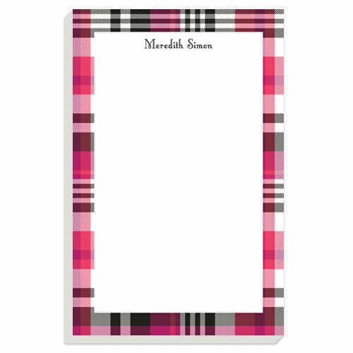 Pink Plaid Notepad