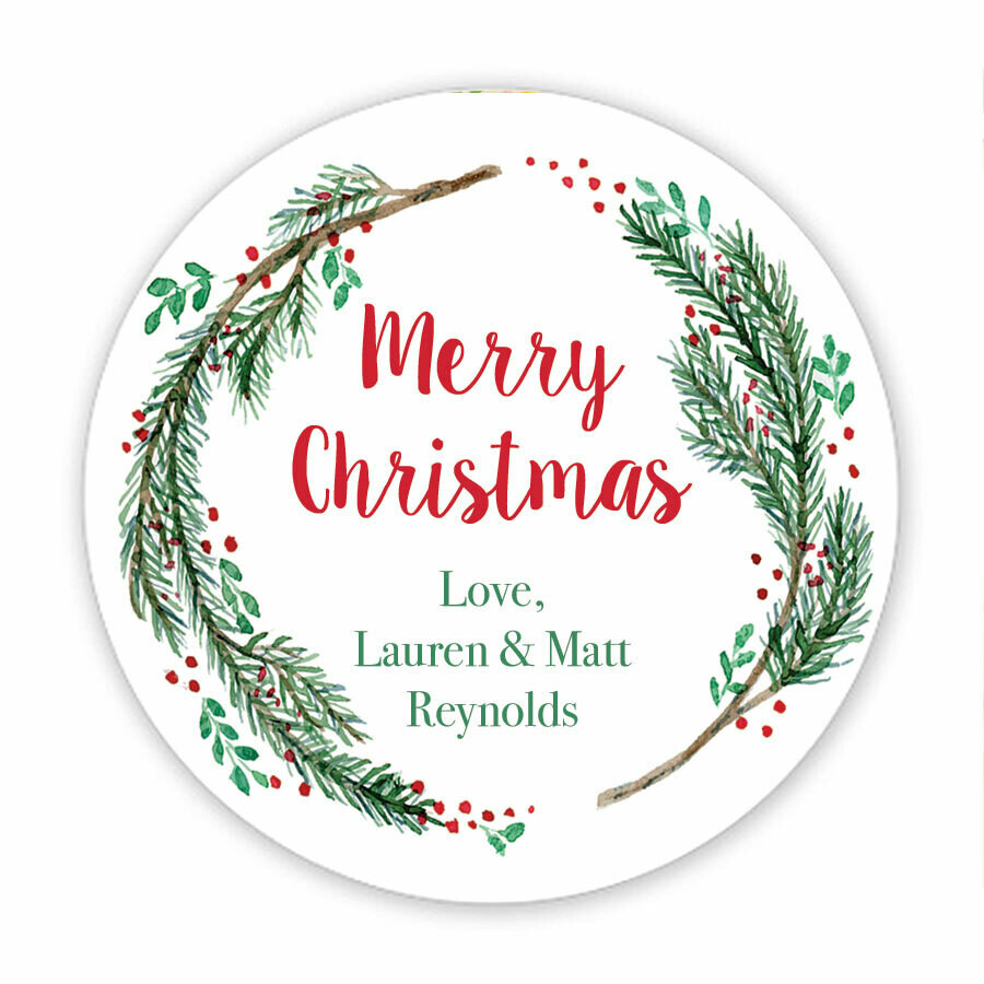 Winter Branches Holiday Circle Stickers