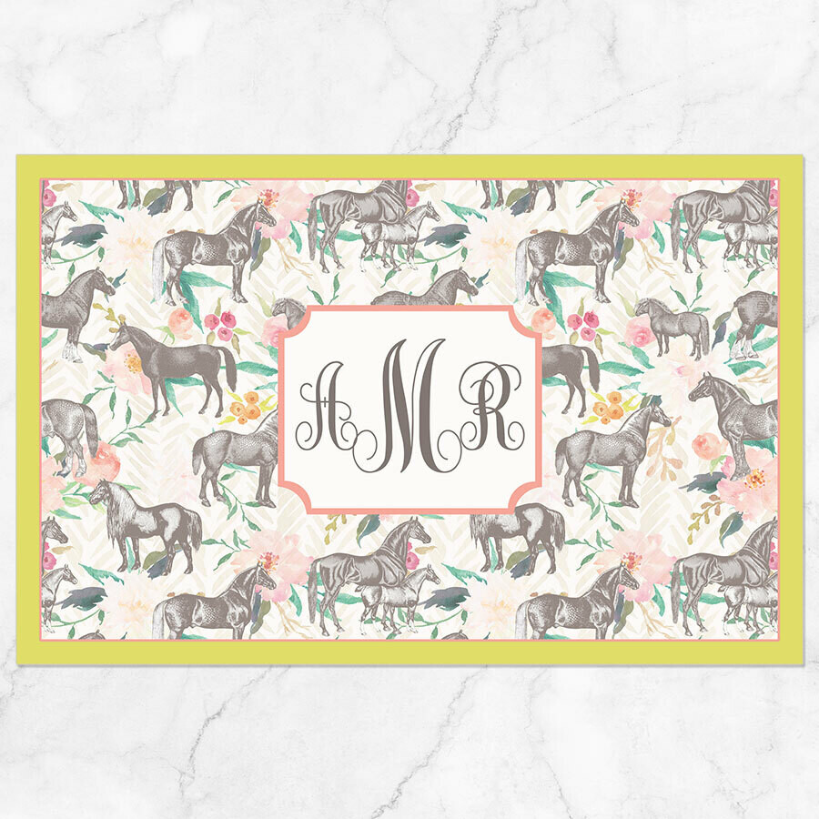 Floral Horses Placemat - Paper or Laminated