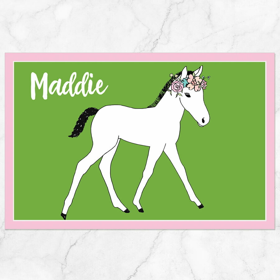 Floral Foal Horse Placemat - Paper or Laminated