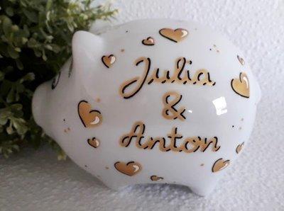Sparschwein Hochzeit gold
