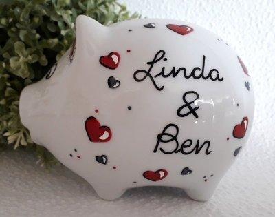 Sparschwein Hochzeit rot
