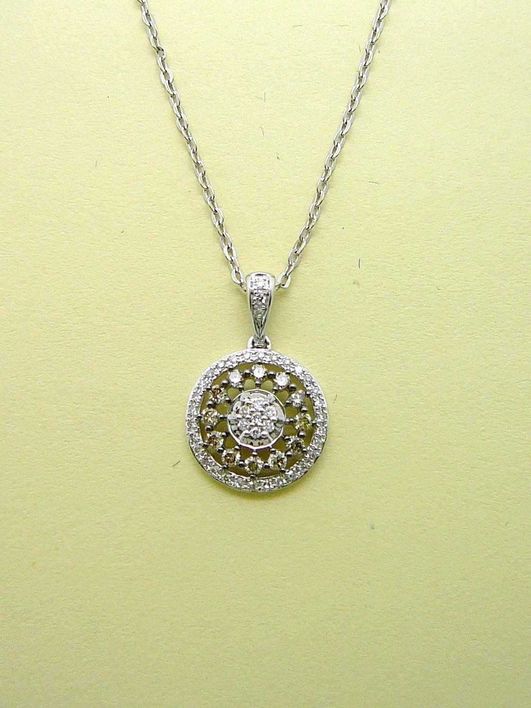 COGNAC CIRCLE PENDANT. Chain Sold Separately