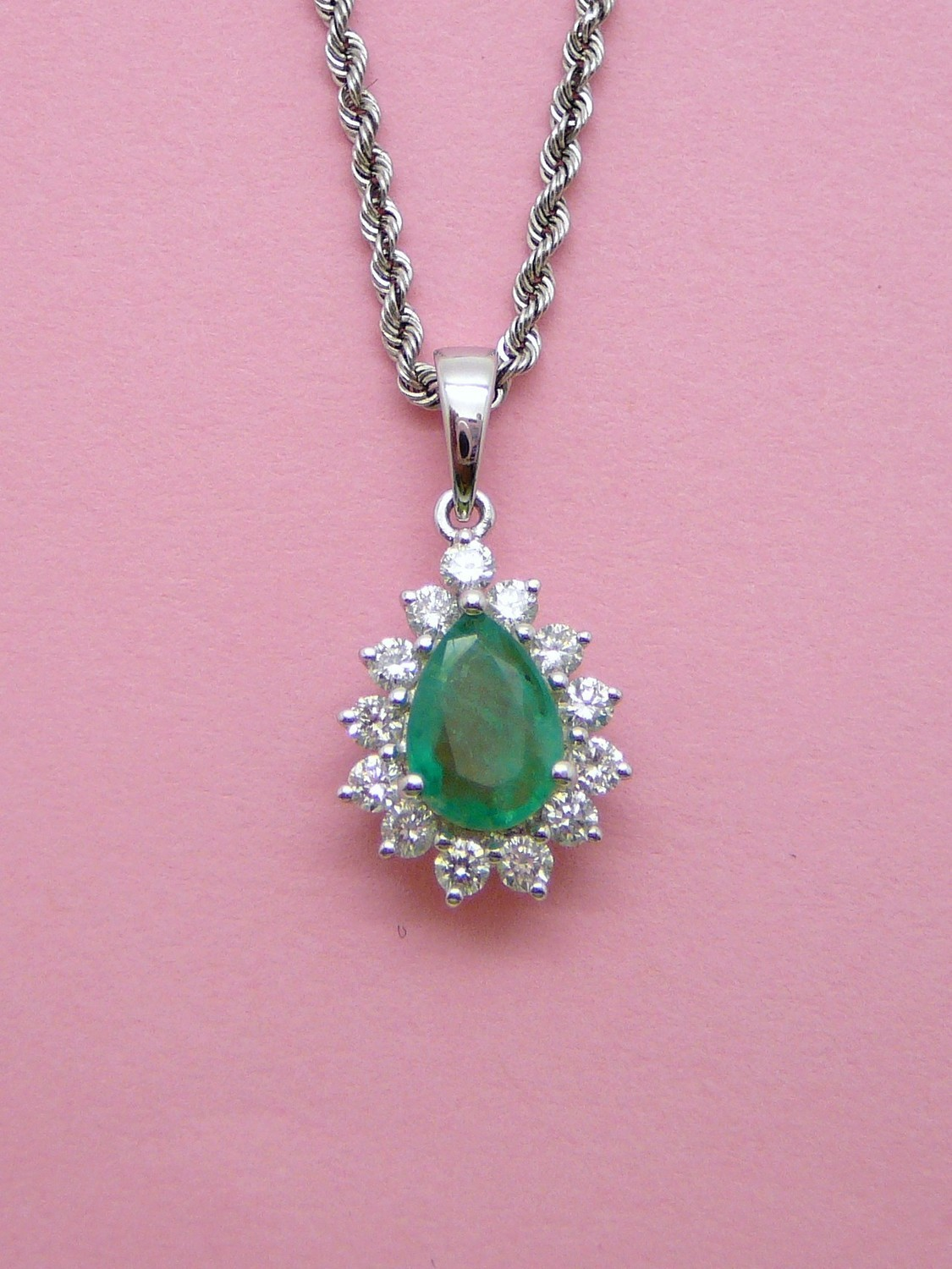 EMERALD Diamond Tear Drop Pendant. Chain Sold Separately