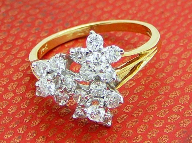 THREE FLOWERS  Two tone Gold 14 kt. plus White Diamonds