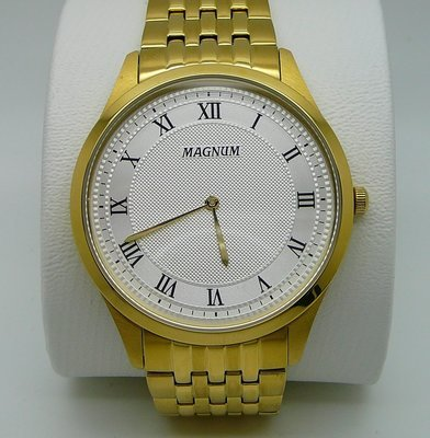 MAGNUM Business, White Dial, Gold Tone