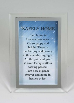 Safely Home mirror glass memorial plaque