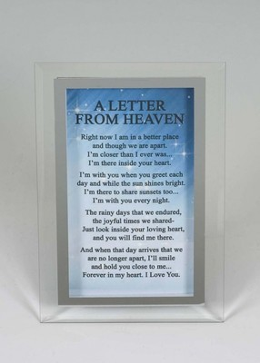 A Letter From Heaven mirror glass memorial plaque
