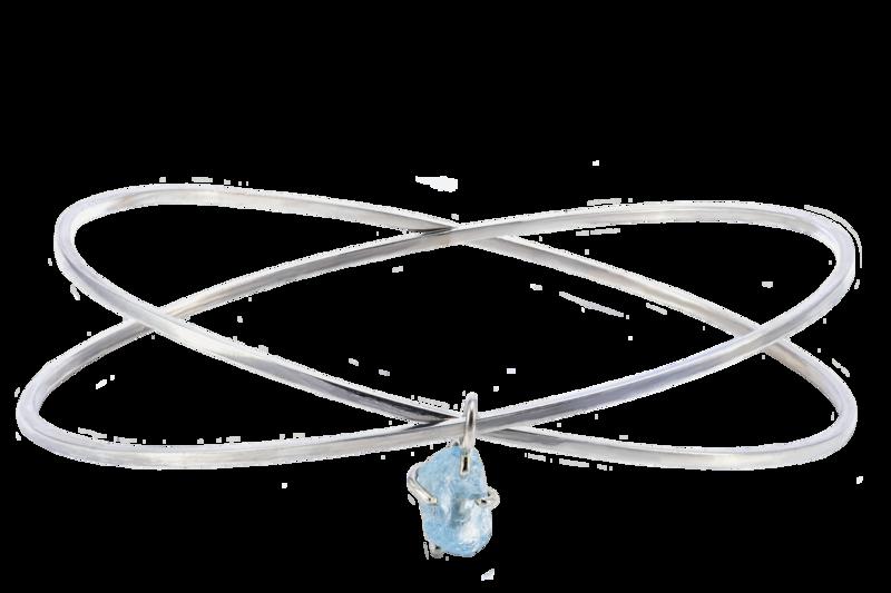 Criss X Raw Aquamarine Bangle