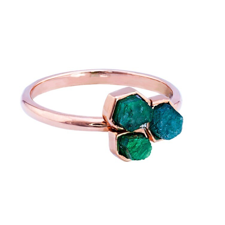 Raw Emerald Trinity Ring
