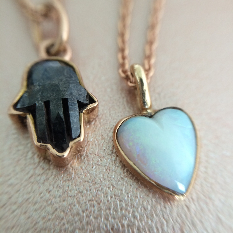 Hamsa Necklace with Black Diamond